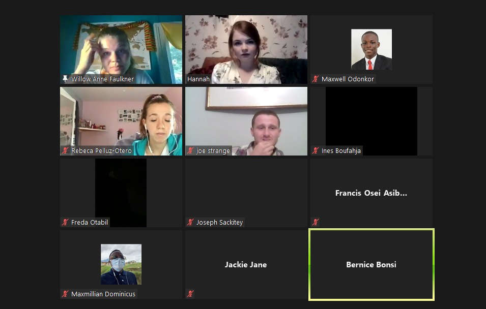 Volunteers of World Inspiring Network during a virtual meet-up